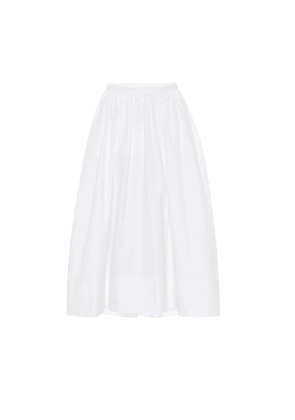 High-rise cotton-poplin midi skirt