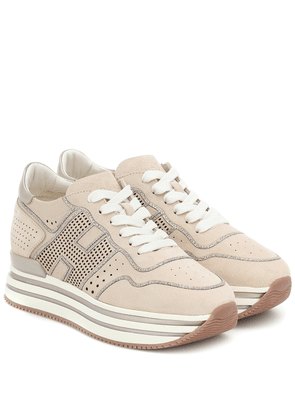 H483 leather platform sneakers