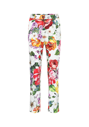 Floral stretch-cotton straight pants