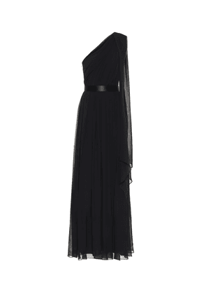 Berger silk one-shoulder gown