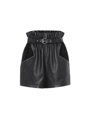 High-rise leather and suede shorts
