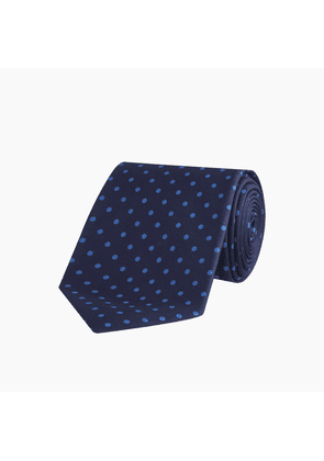 Navy and Blue Spot Printed Silk Tie