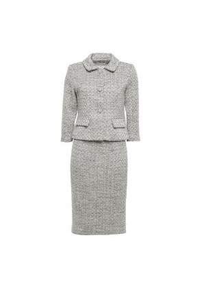 Mikael Aghal Metallic Tweed Skirt Suit Woman Stone Size 4