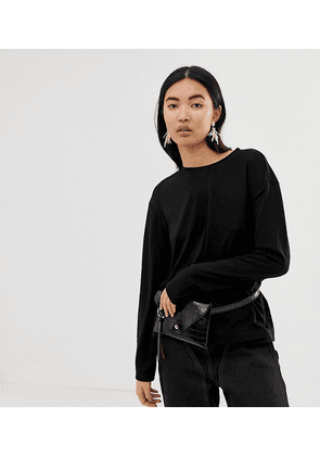 Weekday Grace long sleeve top in Black