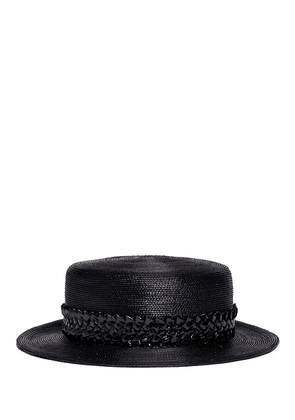 'Agnes' woven band coated straw boater hat
