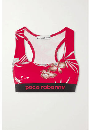 Paco Rabanne - Floral-print Stretch-jersey Sports Bra - Red