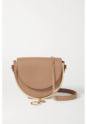 See By Chloé - Mara Embellished Textured-leather Shoulder Bag - Light brown