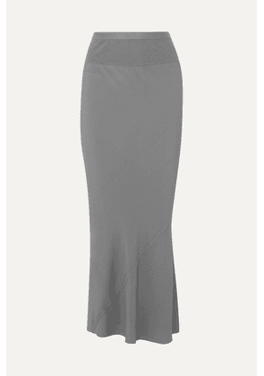 Rick Owens - Ribbed Knit-trimmed Crepe De Chine Maxi Skirt - Light blue