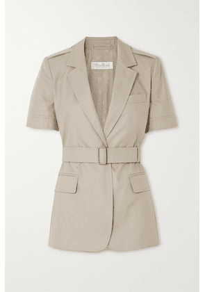 Max Mara - Cesare Belted Cotton-twill Jacket - Taupe