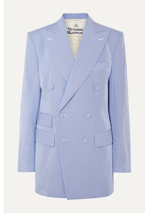 Vivienne Westwood - Oversized Double-breasted Pinstriped Cotton-blend Blazer - Light blue