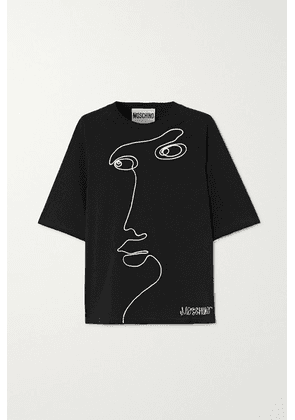 Moschino - Embroidered Cotton-jersey T-shirt - Black