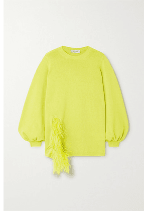 Valentino - Feather-trimmed Wool And Cashmere-blend Sweater - Green