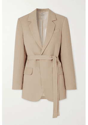 Co - Belted Woven Blazer - Taupe