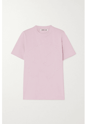 McQ Alexander McQueen - Band Tee Embroidered Cotton-jersey T-shirt - Pink