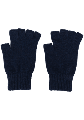 Pringle of Scotland fingerless cashmere gloves - Blue