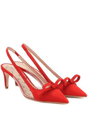 RED (V) slingback suede pumps