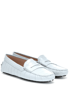 Gommino croc-effect leather loafers