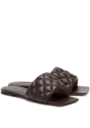 Padded leather slides