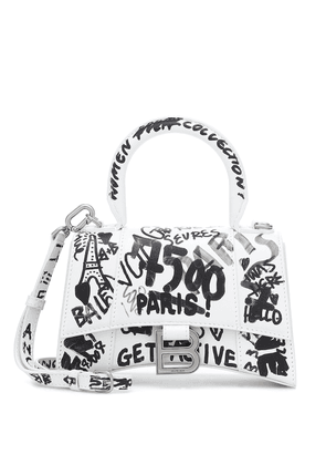 Hourglass XS printed leather tote