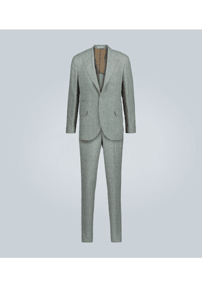 Single-breasted linen-blend suit