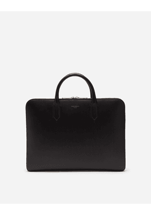 Dolce & Gabbana Business Bags - MONREAL BRIEFCASE IN CALFSKIN WITH HEAT-PRESSED LOGO BLACK