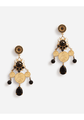 Dolce & Gabbana Collection - PENDANT EARRINGS WITH VOTIVE DECORATIONS AND SMALL ROSES GOLD