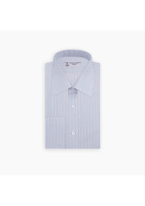 Blue and Pink Grouped Stripe Shirt with T & A Collar and Double Cuffs
