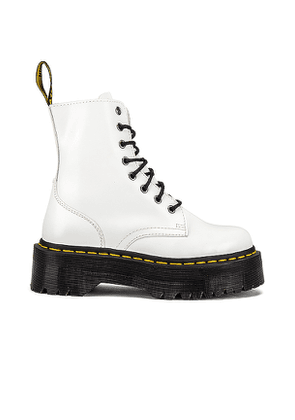 Dr. Martens Jadon Polished Smooth Boot in White. Size 10.