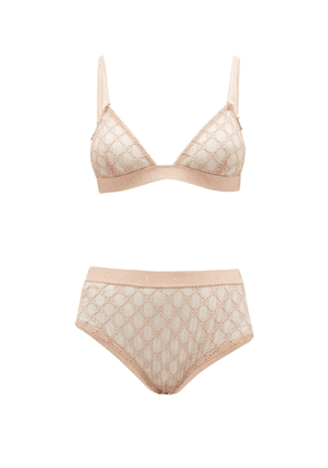 Gucci - Gg-jacquard Tulle Bra And High-rise Briefs - Womens - Light Pink