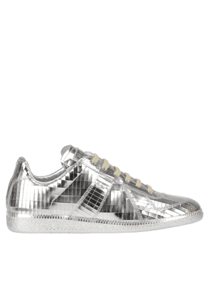 Metallic effect leather sneakers