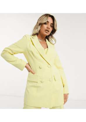 4th + Reckless Petite exclusive double breasted blazer in lemon-Yellow