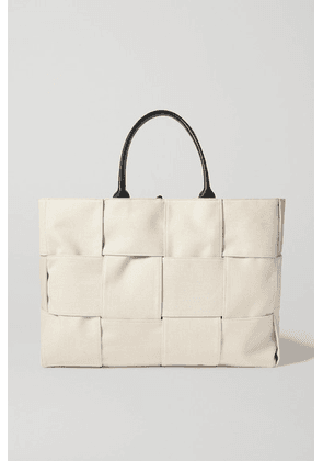 Bottega Veneta - Cabas Leather-trimmed Intrecciato Canvas Tote - Neutral