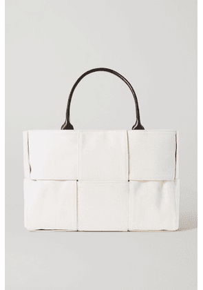 Bottega Veneta - Cabas Leather-trimmed Intrecciato Canvas Tote - Beige