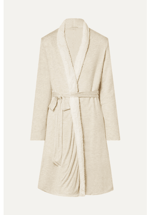 Eberjey - Alpine Chic Slub Modal-jersey And Faux Shearling Robe - Cream