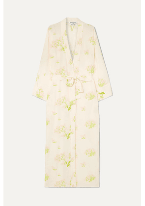 BERNADETTE - Peignoir Belted Printed Silk Crepe De Chine Wrap Dress - Cream