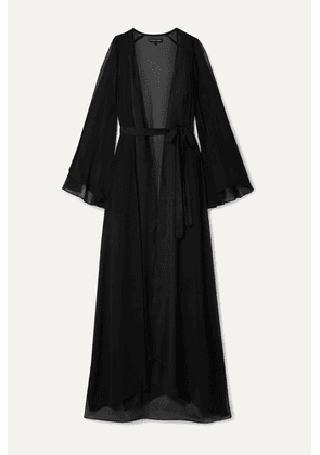 Marika Vera - Valentina Satin-trimmed Cold-shoulder Chiffon Robe - Black