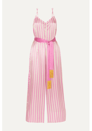 Morgan Lane - Cai Belted Striped Charmeuse Jumpsuit - Pink