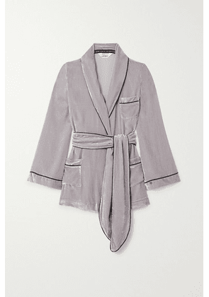 Sleeping with Jacques - The Bon Vivant Belted Piped Velvet Robe - Taupe