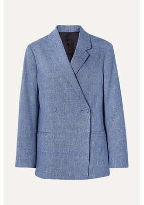 Totême - Loreo Oversized Double-breasted Mélange Stretch Cotton And Linen-blend Blazer - Blue