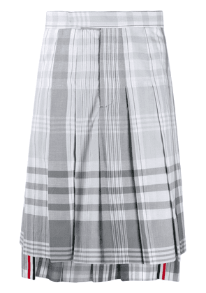 Thom Browne pleated check skirt - Grey