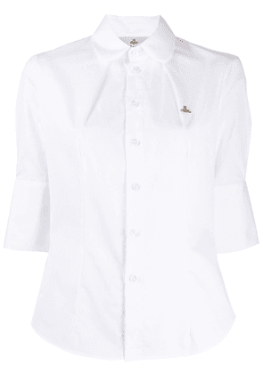 Vivienne Westwood logo embroidered cotton shirt - White