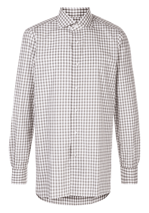 Isaia checked cotton shirt - White