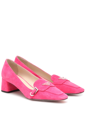 Logo suede loafers