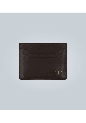 Leather cardholder with logo