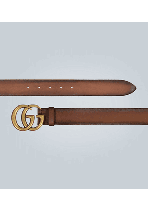 Leather belt with Double-G buckle