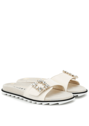 Slidy Viv' Mini Broche leather sandals