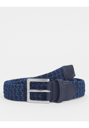 ASOS DESIGN slim woven belt in navy and blue