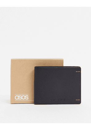 ASOS DESIGN leather wallet in black with contrast stitch detail