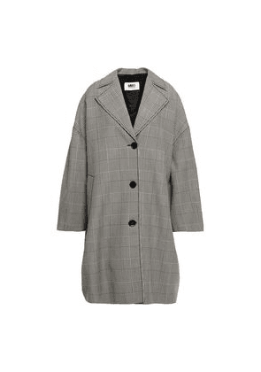 Mm6 Maison Margiela Oversized Prince Of Wales Checked Wool-blend Coat Woman Black Size 42