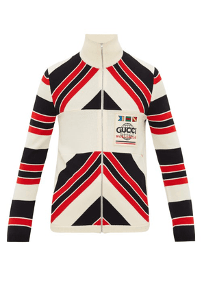 Gucci - Worldwide Logo-patch Striped Wool Cardigan - Mens - Black Red